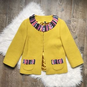 Boden Gold Wool Blend Printed Collar Jacket